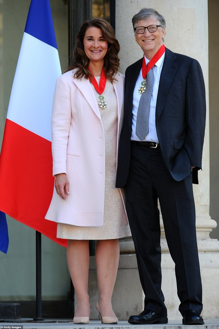 Melinda and Bill seen after receiving theCommander of the Legion of Honor in Paris in 2017. The couple announced they were getting divorced earlier this month