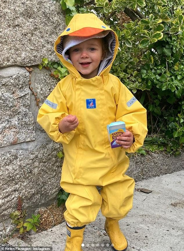 Quack Quack:Not to be outdone on the cuteness factor, Delilah posed in a solo snap wearing a hilarious yellow duck outfit and wellies while on holiday