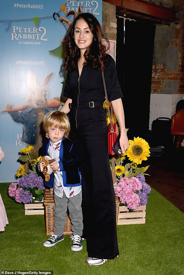 Day at the movies: Melanie Hamrick was joined by her son Deveraux, four, at aPeter Rabbit 2 gala screening at London's Picturehouse central