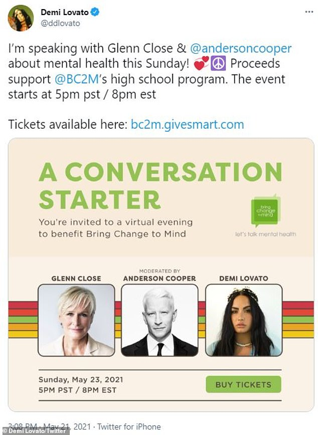 $25 tickets!Demi will next discuss mental health issues with Glenn Close and moderator Anderson Cooper on Sunday night at 5pm PST through Bring Change to Mind