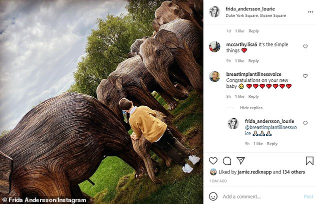 My boy: She shared a rare picture of one of her sons with social media followers. The model shares four children with former husbandJonathan Lourie