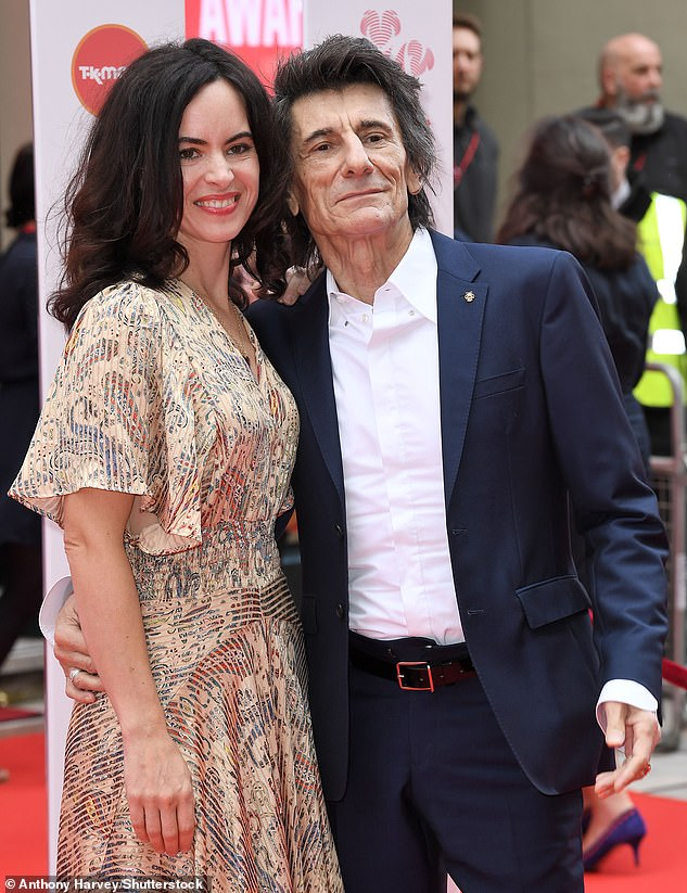 Marriage: Sally has been married to Ronnie Wood since 2012. Pictured together in March 2020