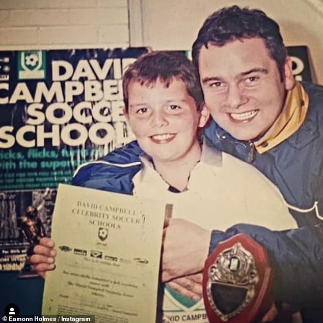 Doting dad: On Sunday, Eamonn Holmes, 61, took to Instagram where he shared a rare photo of his lookalike son Declan, now 33, as he reminisced over a fond memory
