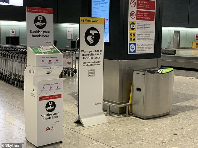 According to Skytrax, Heathrow is'reorganising existing sanitiser dispensers to ensure that customers are never more than 30 paces from a hand hygiene station'. This one is in Terminal 5 baggage reclaim