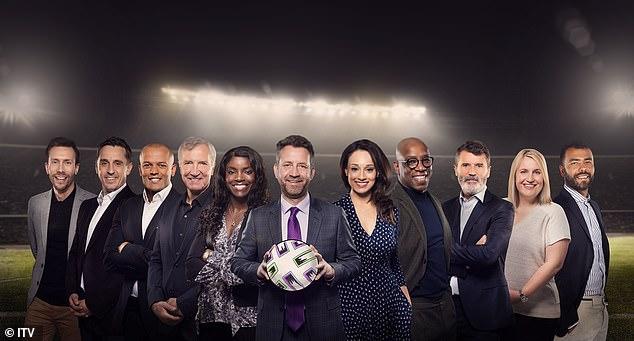 Mark Pougatch (centre left) and Seema Jaswal (centre right) will front ITV's Euro coverage