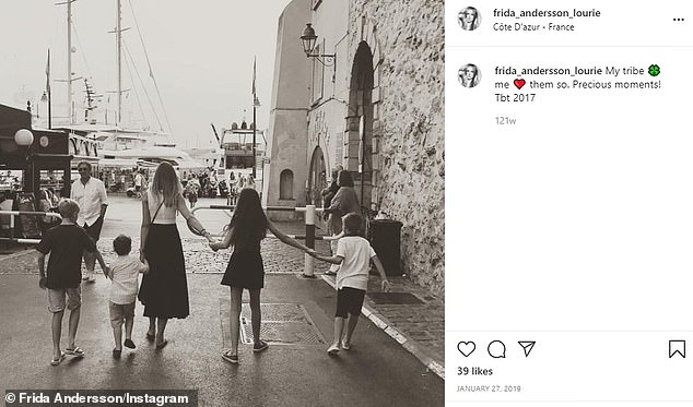 Sweet: The model has also shared glimpses of her kids' on Instagram, including a picture of the family in France in 2017