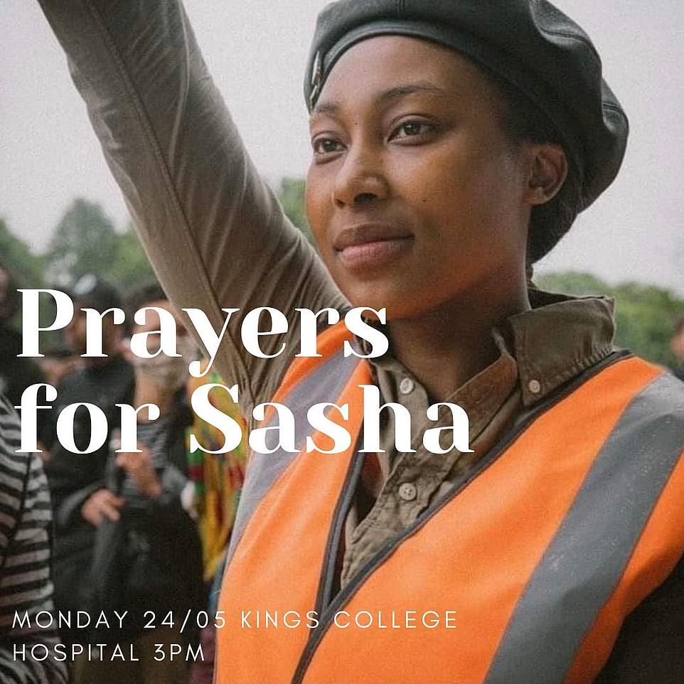 A poster shared on social media to promote this afternoon's vigil said it would offer 'prayers for Sasha'