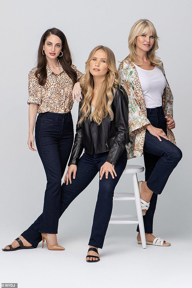 Her kids: Brinkley models alongside daughters in a Mother's Day fashion campaign for Not Your Daughter's Jeans