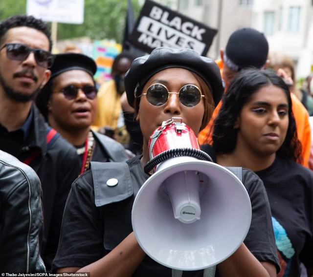 Sasha Johnson, co-organiser of the Million People March, during a demo in London, August 2020
