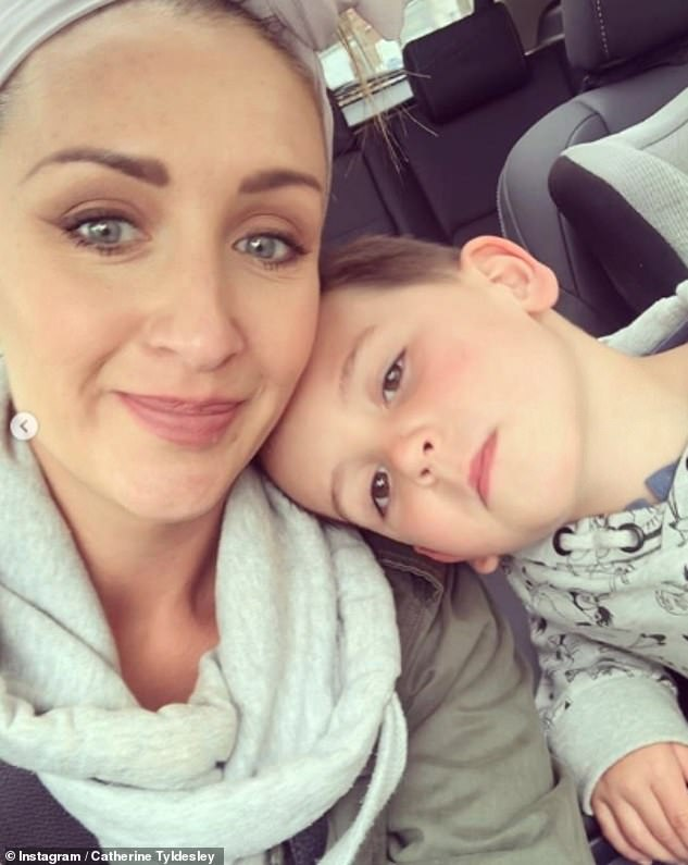 Options open: Catherine shares her son Alfie, six, with her husband Tom Pitfield and shediscussed the prospect of growing her family in an interview earlier this month