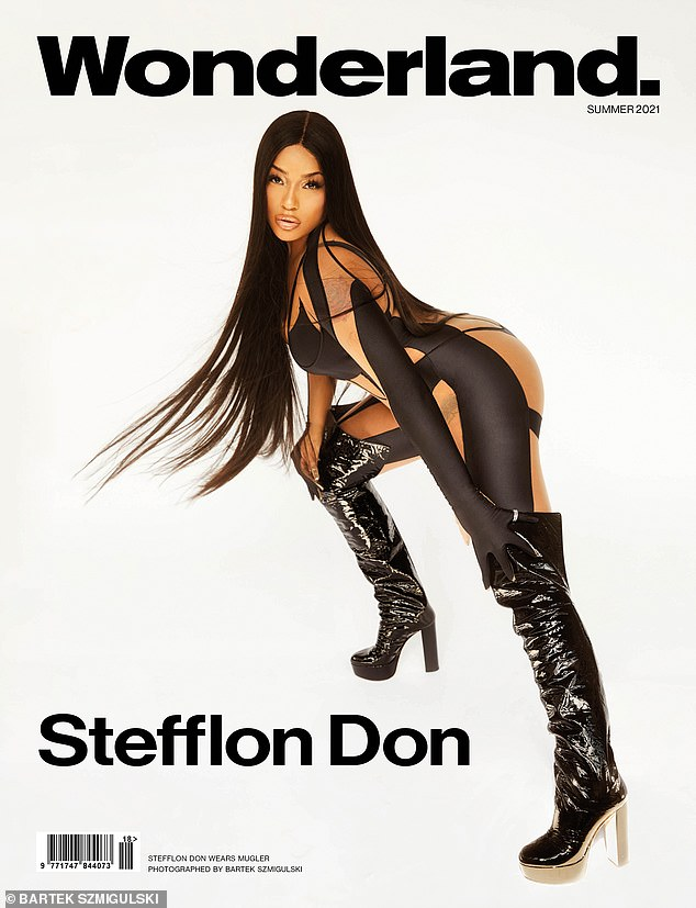 Wow! Stefflon Don set pulses soaring as she posed in a black, semi-sheer catsui for a stunning photoshoot for Wonderland on Friday