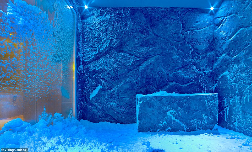 Guests can experience hot/cold therapy at the Viking ship spa, with sessions in the steam room followed by a stint in the icy snow grotto, pictured