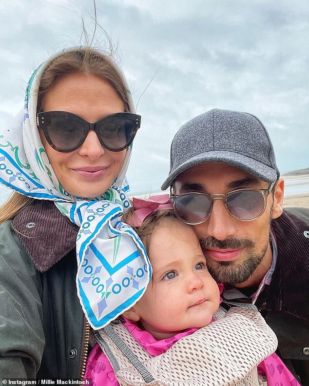Making memories: It comes after Millie and Hugo enjoyed a UK staycation on the Devon coast with their one-year-old daughter Sienna
