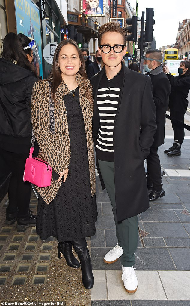 Date night:Giovanna Fletcher, who was crowned Queen Of The Jungle on the ITV endurance show, was accompanied by her singer husband Tom