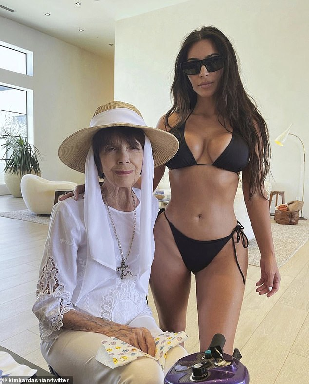 Kardashian Tuesday tweeted a photo of her in a bikini with her grandmother, Mary Jo Shannon