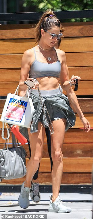 Hard work: The Brazilian native has used Pliates as one of her main forms of exercise to keep her supermodel figure