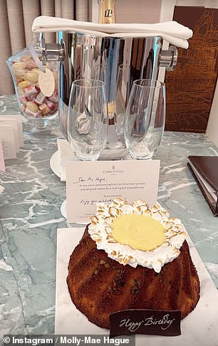 Delicious: There was also a yummy cake and champagne gifted from hotel staff