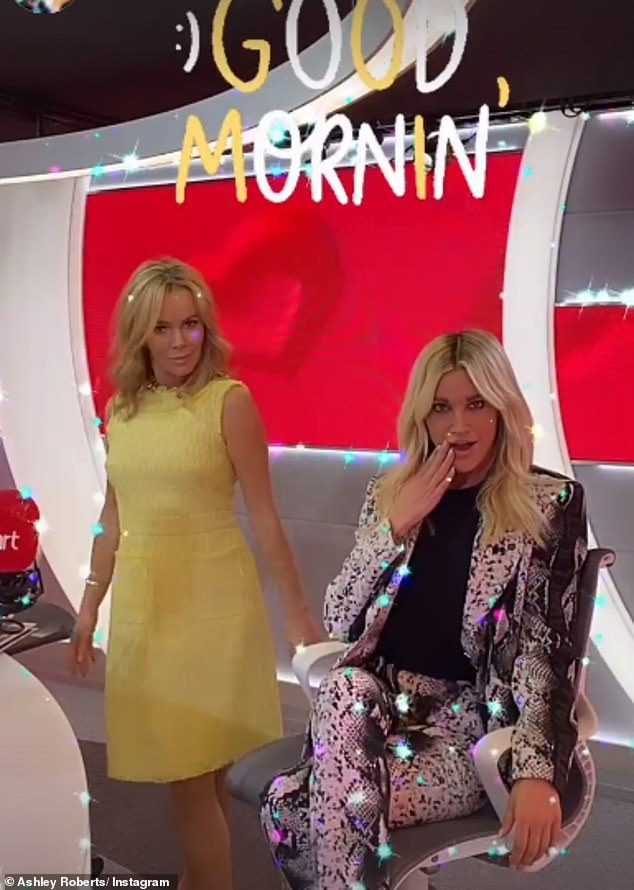 Friends: The blonde bombshell posed up a storm with her co-host Amanda Holden, adding a glittery filter to the photo as she coyly placed her fingertips on her lips