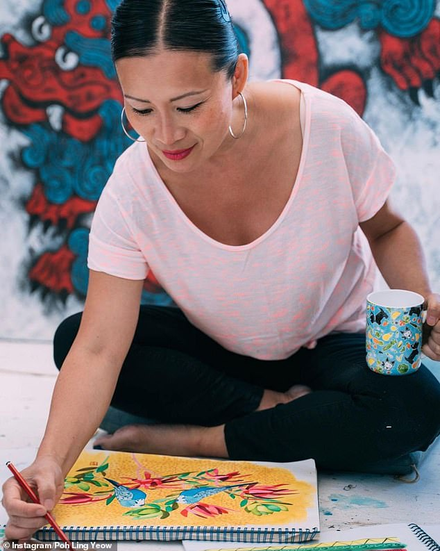 Artist at work: Poh said she turned to art to help her overcome her shyness, and claimed painting and drawing 'took me to another place and gave me a sense of purpose'