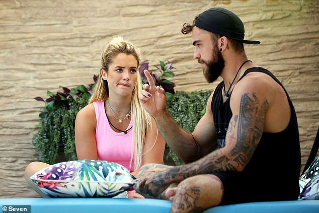 Short stint: Mitch was among the six new intruders who entered the Big Brother compound last week. Pictured alongside housemateTilly Whitfeld (left)