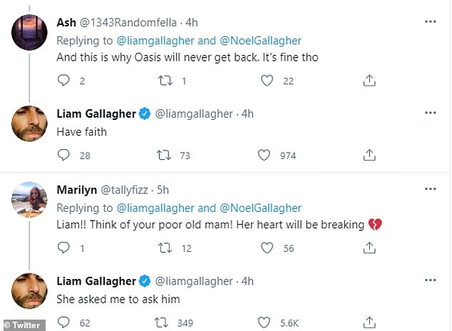 Here we go... again: Liam couldn't resist hitting out at his brother after spotting the post, with fans quickly getting involved in the spat