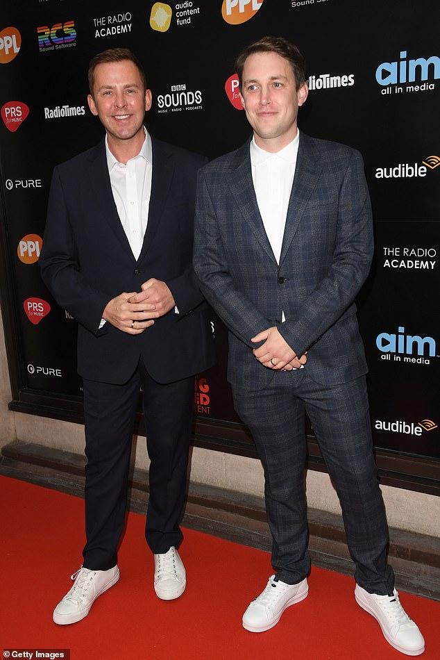 Double-act:Putting on an equally dapper display were Radio 1 stalwart Scott Mills and sidekick Chris Stark