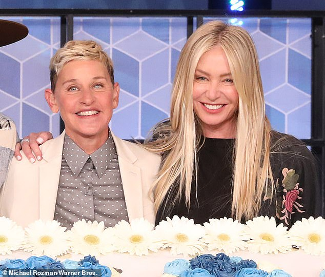 Her wife:It comes after Ellen recently praised Portia for helping to 'keep [her] going' last year after former employees of her talk show accused some of the show's producers – who have since been sacked – of creating a 'toxic' work environment. Seen with Portia on her show