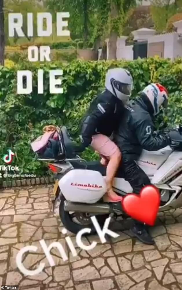 Wegfahren: Die TV-Legende war das Bild von Ausgeglichenheit und Eleganz auf dem Bildschirm, bevor sie ihre wilde Seite enthüllte, als sie mit einem Motorrad nach Hause fuhr - was ihr Verlobter Ben Ofoedu auf Twitter dokumentierte