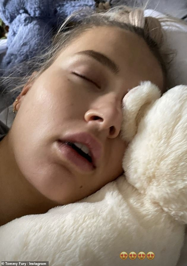 Don't hate me! The Love Island hunk also begged Molly-Mae 'not to hate him' for posting numerous photos of her fast asleep, which included a couple of close-ups