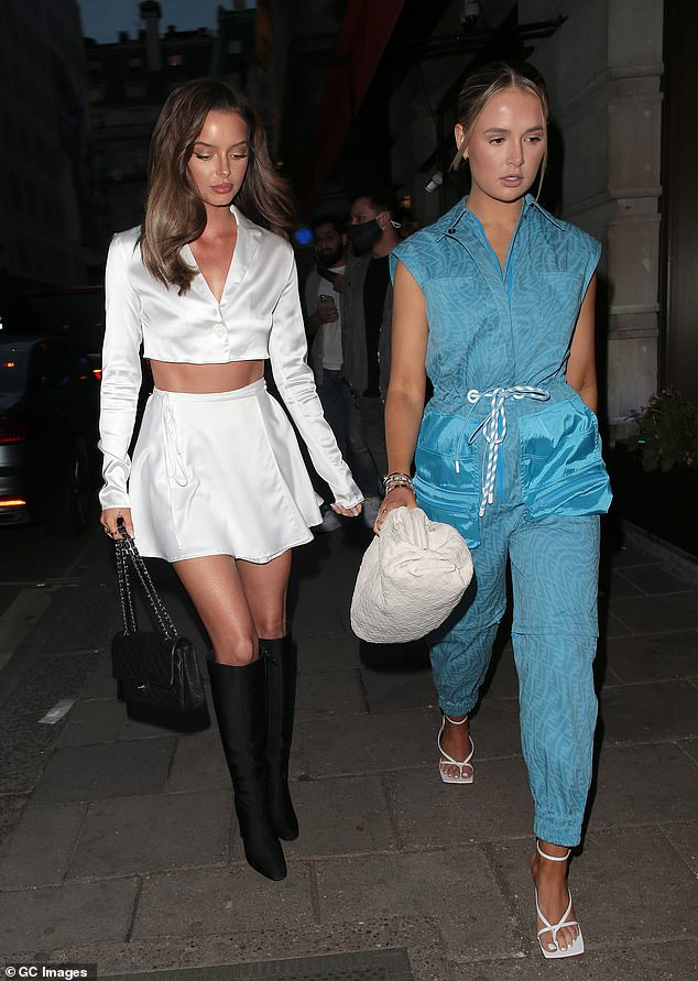 Work it: Molly-Mae, 22, commanded attention in a blue Fendi jumpsuit which consisted of a drawstring waist and silk oversized pockets