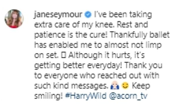 Update:The actress, 70, took to Instagram as she insisted that she has been 'taking extra care' of her kneecap with 'rest and patience the cure'