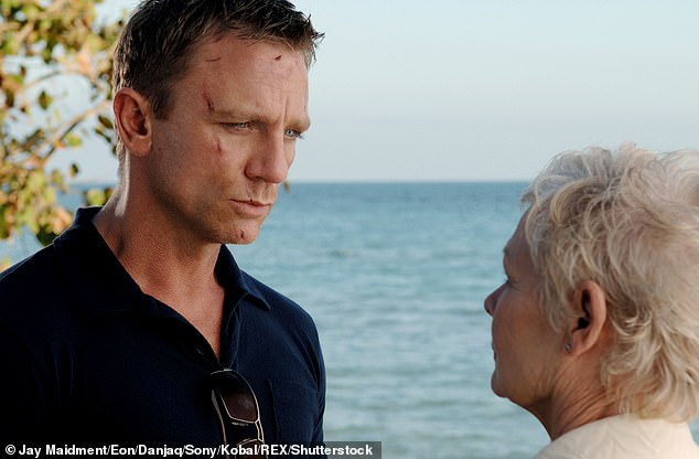 Bowing out: Judi played the character of M, who was Head of the Secret Service in Ian Fleming's popular novels, until she was killed off in Skyfall in 2012 (pictured with Daniel)