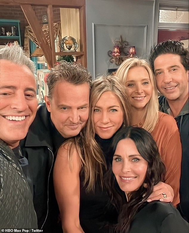 Reunited: Kevin went on to say that the reunion show is ' half a documentary, half a variety show,' and they waited for the coronavirus pandemic to ease a little so they could have a live audience for the show. The cast are pictured during the reunion