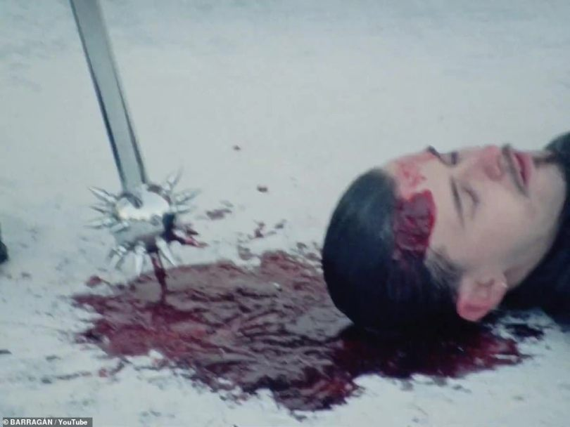 Murder:In a single fade, the audience sees the voyeur on the ground dead, with a gaping wound on his head from a spiked weapon