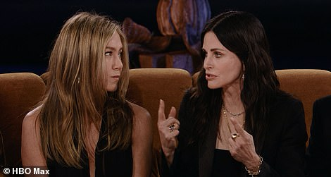Candid: During an interview with James Corden, the cast reflected on some of the sitcom's most iconic moments (Jennifer and Courteney pictured left)