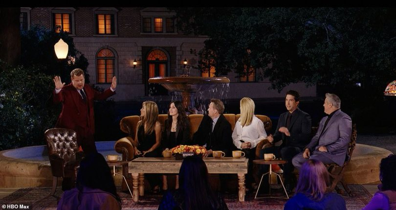 Here he is! After the cast took their seats on the famous brown sofa that took centre stage in the show's intro, James Corden took to the stage to interview the stars about the show's greatest moments