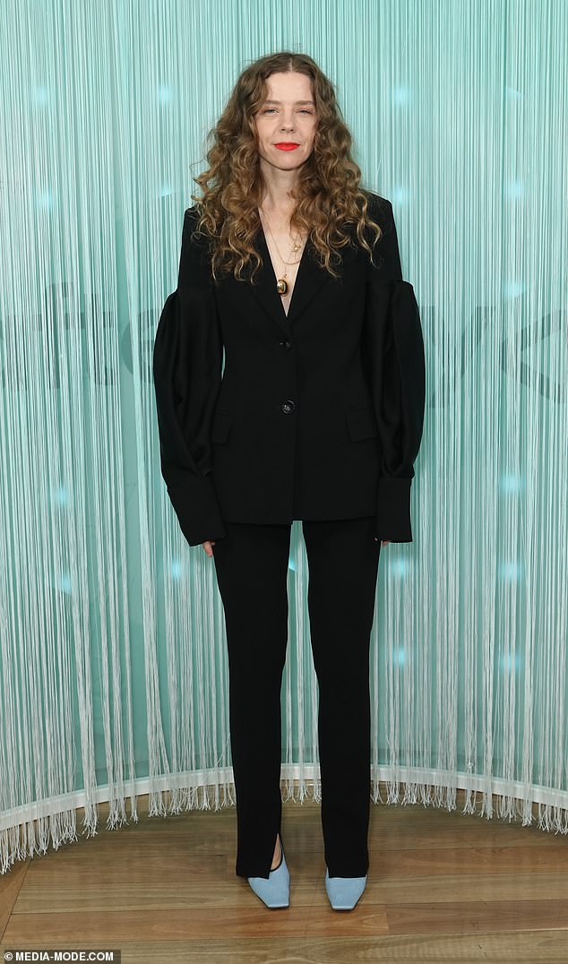 All class:Bianca Spender [pictured] was the definition of chic on the night in a black pantsuit with voluminous sleeves