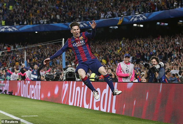 Messi celebrates as Barcelona see off Bayern on their way to winning the Champions League
