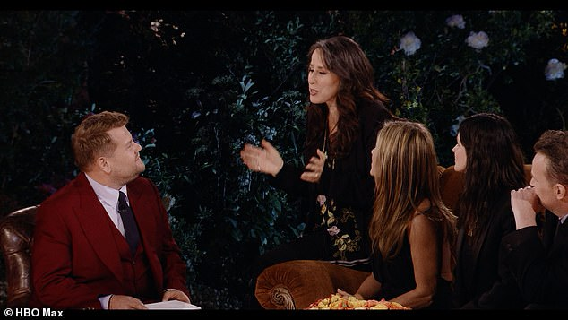 Not to be forgotten: 'My God, I can't believe you didn't say me!' she shouted in Janice's voice as she took a seat on the sofa arm; still from the Friends reunion