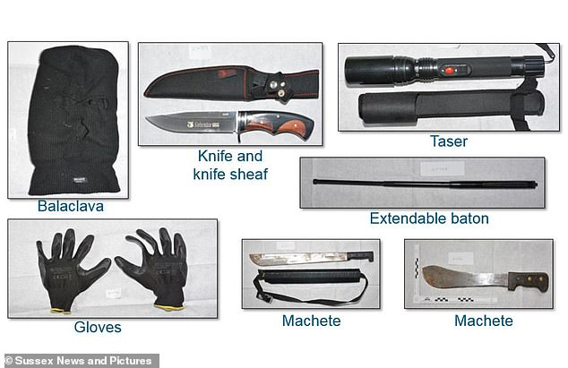 The weapons found in Milne's shed. Policefound a collection of knives, an extendable baton, a taser together with gloves and a balaclava