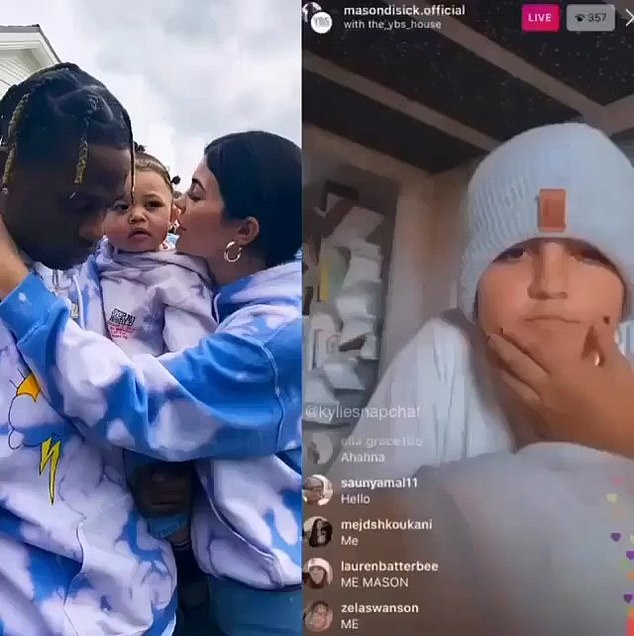 Causing a stir: Kourtney addressed how she shut down her son Mason's Instagram account in March last year (pictured above, discussing Kylie and Travis Scott's relationship)