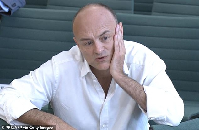 The Prime Minister faced a barrage of criticism from his former chief adviser on Wednesday, with Mr Cummings claiming he was 'unfit' to lead the country. Pictured: Cummings giving evidence on May 26