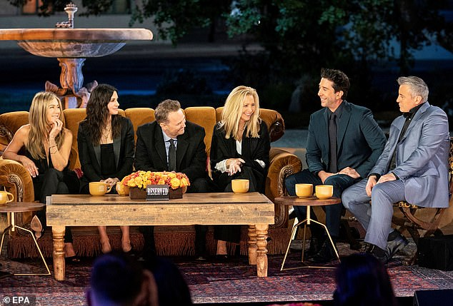 From left: All six Friends cast members - Jennifer Aniston, Courteney, Matthew Perry, Lisa Kudrow, David Schwimmer and Matt LeBlanc - all got together for the special