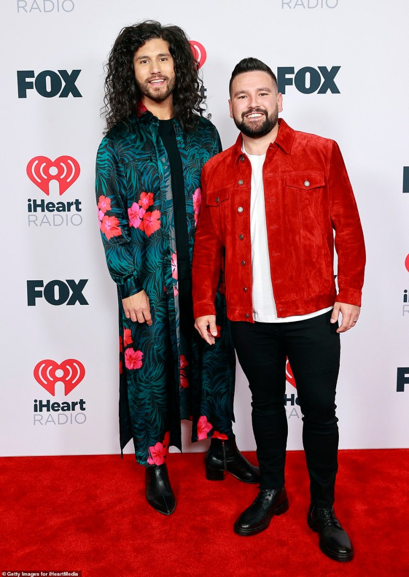 Playing with color:Dan Smyers and Shay Mooney of music group Dan + Shay put on a colorful display for their red carpet moment
