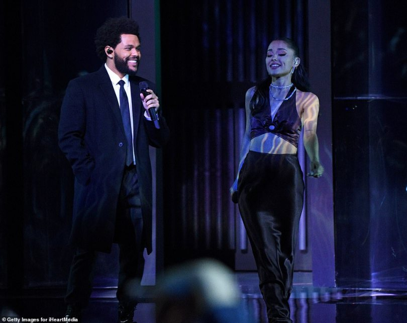 Dynamic duo:Though they did not walk the carpet, the Weeknd and his collaborator Ariana Grande wowed on stage at the iHeart Music Awards