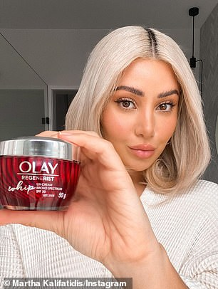 Influential: Martha also has deals with brands such as Magnum ice creams, Olay skincare (left) and Chemist Warehouse