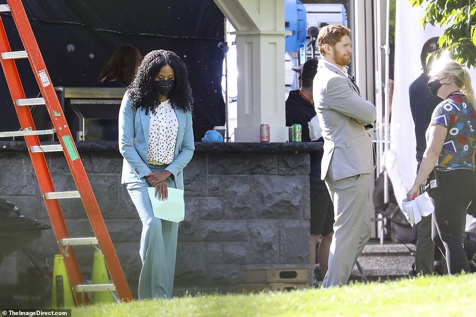 In production: The actor on the set of the movie, which appeared to be covering Prince Harry's bombshell Oprah interview