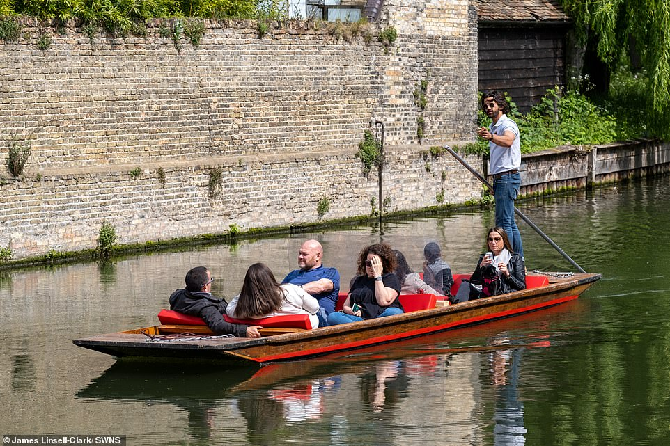People out punting in the sun on the River Cam in Cambridge today with the weather set to be good for this weekend