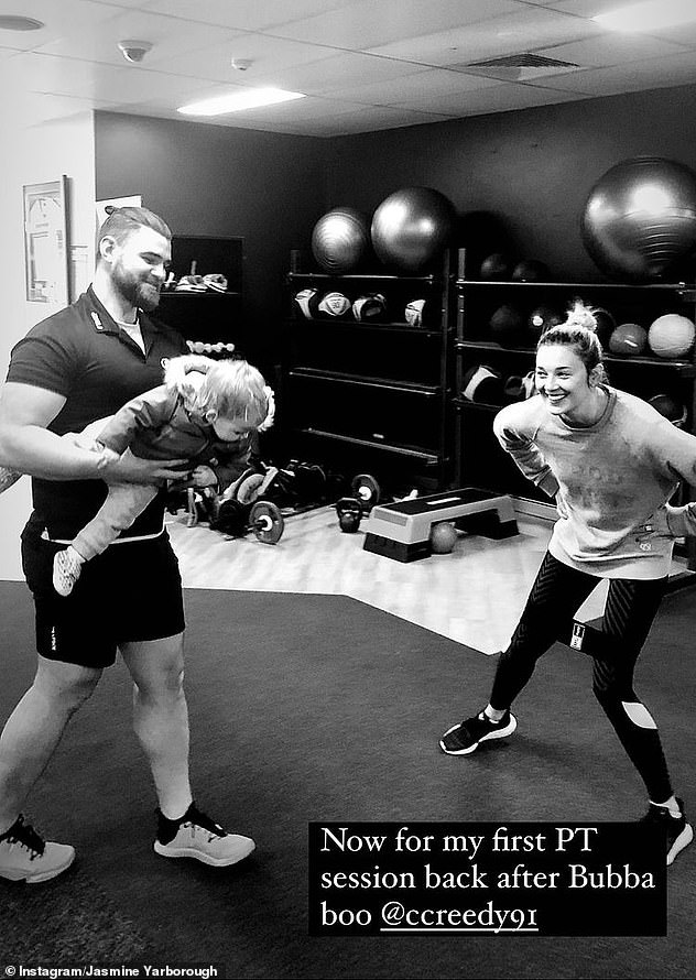 Fighting fit! Earlier on Friday the designer attended her first personal training session since the birth of her little girl.She shared a photo of herself alongside her trainer and little Harper