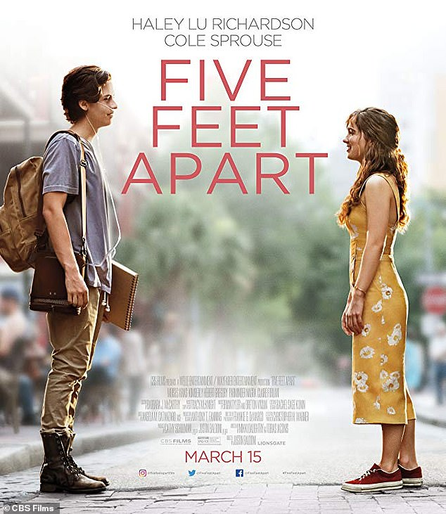 On-screen couple: They played cystic fibrosis patients who can't be more than several feet together due to fears of cross-infection in the 2019 romantic drama Five Feet Apart